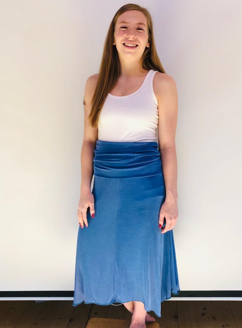 Women/'s Size Medium Blue Strapless Dress or Long Skirt with Handkerchief Hemline