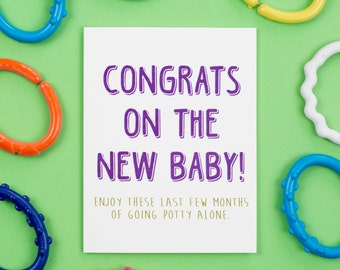 Going Potty Alone Card, New Baby, Baby