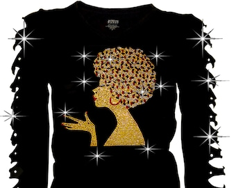 100/% Natural Pink Afro Girl Stud Iron on Shirt