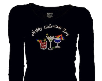 aa798ecaf00 Women Plus Size Happy Valentines Day Cocktails Rhinestone T-Shirt