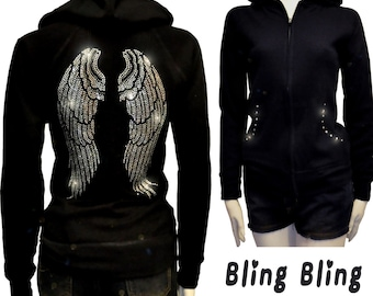 1d8316c5693a2 Lady Size Bling Bling Angel Wings Rhinestone Hoodie Sweater Full Zip Up   2  Pockets XL