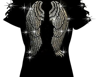 d18cf32089c96 Bling Bling Rhinestones Angel Wings T-shirt Ripped Slit Cut Out Cute Wings  Back S~3XL
