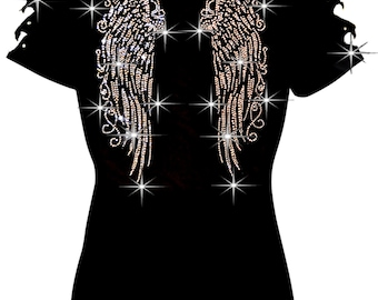 2f58145feb857 Bling Bling Rhinestones Angel Wings T-shirt Ripped Slit Cut Out Long Wings  Back S~3XL