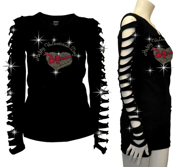 Bling Bling Lady Fight Breast Cancer RHINESTONE Shirt Ripped Slit Cut Out S~3X