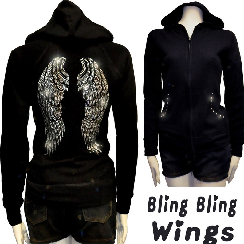 21591c9229f Women PLUS SIZE Bling Bling Angel Wings Rhinestone Hoodie