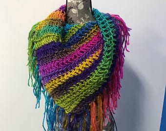 Multicolor Crotched Infinity Scarf w/ Fringe