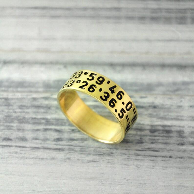 selezione migliore f5b50 c01b6 GPS anello Custom coordinare anello oro 18k placcato anello di posizione di  anello Latitudine Longitudine anello anello inciso