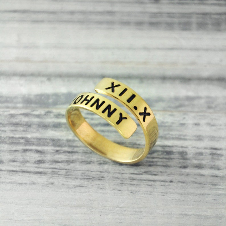 a0cecae83 Roman Numeral ring Adjustable Ring custom name and date | Etsy