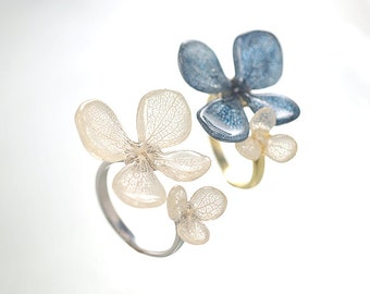 Real Hydrangea Ring, with Beautiful Vein, Traditional Japan Blue (Indigo) or Natural White