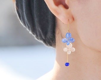 Chain Earrings with Real Hydrangea, Lapis lazuli with Beautiful Veins, Asymmetric Design, 14k Gold Filled