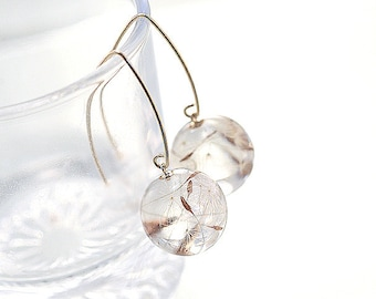 Real Dandelion Seeds V-Hook Earrings, 14K gold filled