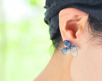 Real Hydrangea Earrings with 14kgf, Traditional Japan Blue,Indigo,Lovely 4-Petals, Beautiful Vein, Post/Stud/Dongle/Hook/Drop Earrings
