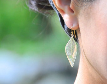 Real Wild Leaf Earrings, with 14k Gold Filled Type-S, Hook/Drop Earrings