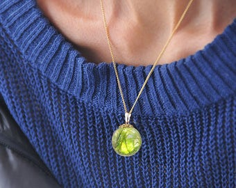 Real Wild Moss Necklace, Globe Necklace by Resin, Real Wild Moss Jewelry with 14kgf chain