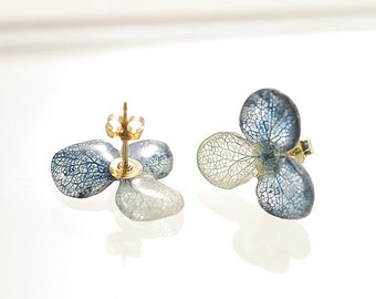 Real Hydrangea Earrings with 14k Gold Filled,Traditional Japan Blue, Indigo, Post/Stud/Dongle/Hook/Drop Earrings