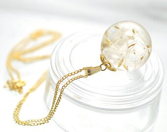 Real Dandelion Seeds Necklace, Globe Necklace by Resin, Real Dandelion Seeds Jewelry with 14kgf chain