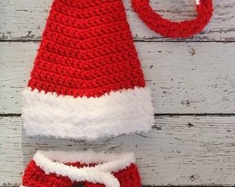 Newborn Christmas Long Tail Santa hat and diaper cover - Newborn  photography prop a28b84870fbf