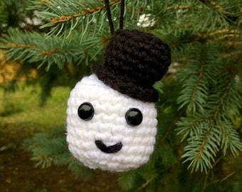 Small Crochet Snowman Ornament Decoration