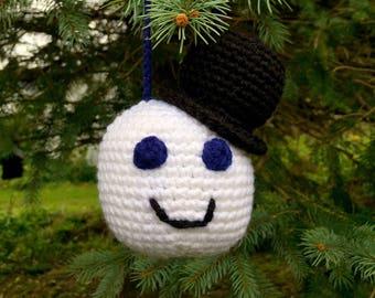 Large Crochet Snowman Ornament Decoration