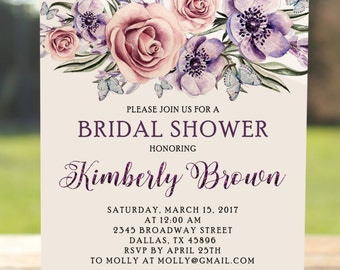Purple bridal shower invitation, Purple baby shower, Floral bridal shower invite, Wedding shower, Rustic bridal shower, Watercolor shower