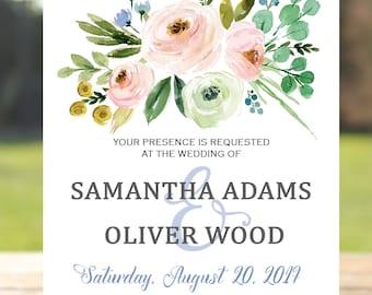 Blush wedding invitation, Printable wedding invitation suite, Printable wedding invitation set, Floral wedding invitation printable