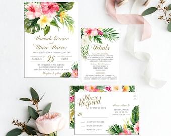 tropical wedding invitation etsy
