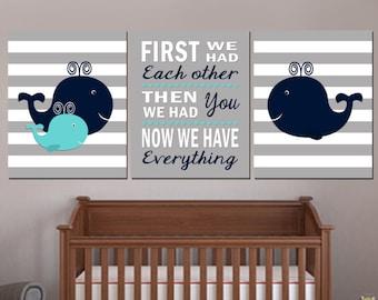 Nautical Nursery Art, Baby Boy Nautical nursery, Whale nursery Art, Whale Nursery Decor, First We had each other, Printable Nursery 16x20