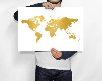 Gold world map art print map of the world poster home gold world map world map gold world map poster world map art gold foil print gold foil wall art gold foil world map printable map gumiabroncs Gallery