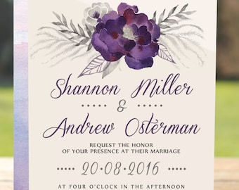 purple invitations etsy