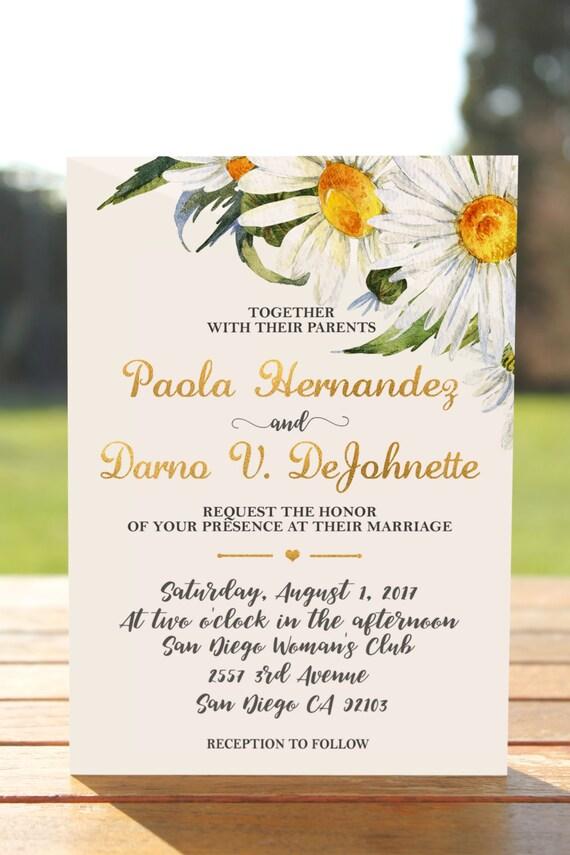 Gänseblümchen Hochzeits Einladung Blumen Hochzeit Einladung