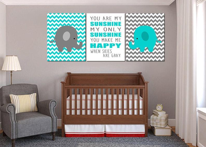Elefant-Kindergarten-grau und Türkis Wandkunst sind Sie mein | Etsy
