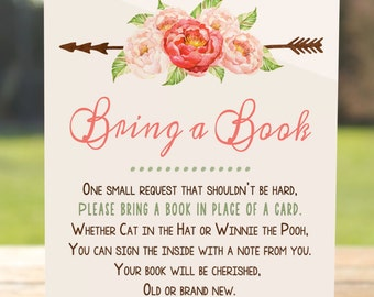 Bring a book instead of a card, Bring a book baby shower insert, Bring a book baby shower, Bring a book card, Bring a book insert   BASH-01
