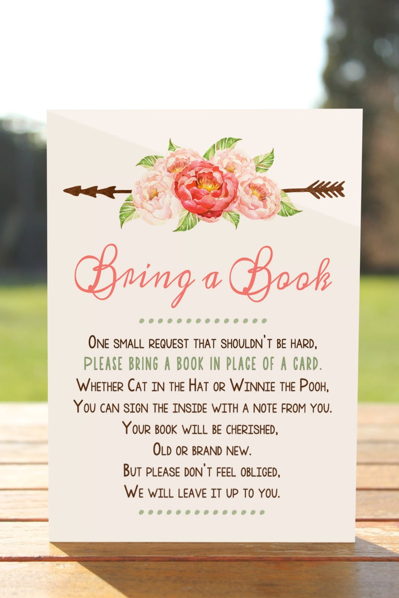 Bring a book instead of a card Bring a book baby shower image 1
