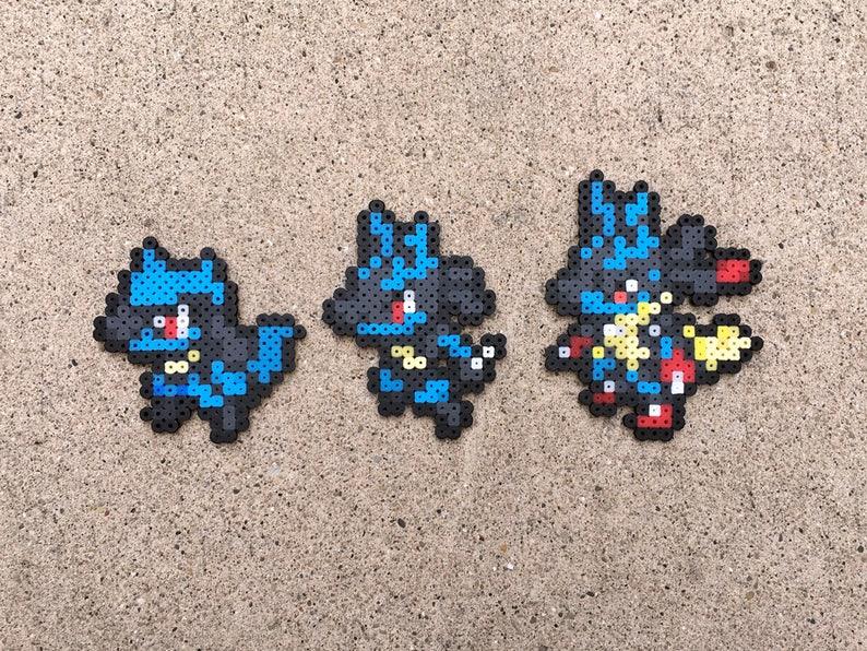 Riolu Lucario Mega Lucario Pokemon Perler Bead Etsy