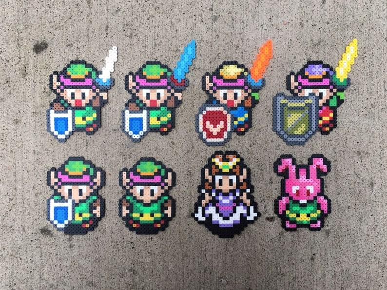 Zelda | Link | Sword, Shield, Bunny | A Link to the Past | Perler Bead |  Fuse Bead | 8bit | SNES | Mini | Sprite
