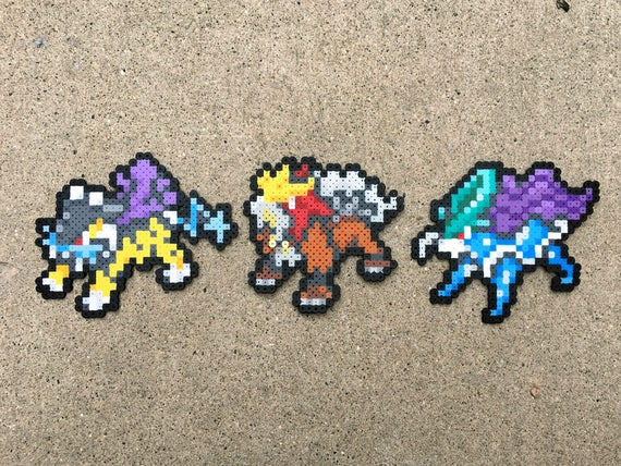 Gen 2 Bêtes Légendaire Trio Raikou Entei Suicune Pokemon Perler Cordon Fusible Perle 8 Bits Nintendo Mini Sprite