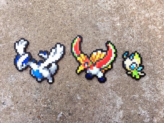 Gen 2 Tour Légendaire Trio Lugia Ho Oh Celebi Mythique Pokemon Perler Cordon Fusible Perle 8 Bits Nintendo Mini Sprite