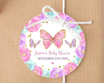 Butterfly Birthday Party Favor Tags Or Stickers