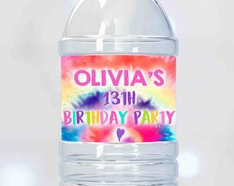 20 Bottle Labels Rainbow Party Supplies Bottle Tie Dye Party Decorations Tie Dye Waterproof Bottle Labels Rainbow Party Decorations Rainbow Bottle Labels Tie Dye Party Supplies