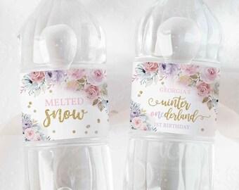 Editable WINTER ONEderland Water Bottle Wraps Gold & Pink Floral Snowflake Winter Onederland Bottle Label 1st Birthday Instant Download KA