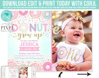 Donut Grow Up Birthday Invitation Grown 1st Party Instant Download Editable File Corjl D8