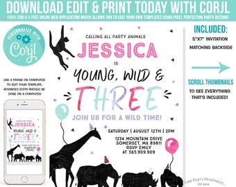 d0dc96094b1f74 Young Wild And Three Birthday Invitation Calling All Party Animal Invite  Young Wild & Three Party Instant Download Editable PDF File 9G