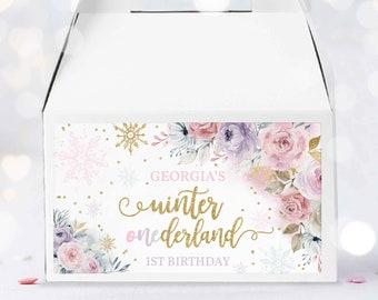 Editable WINTER ONEderland Gable Box Labels Gold & Pink Floral Snowflake Winter Onederland Gable Favors 1st Birthday Instant Download KA