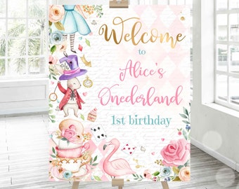 Winter ONEderland welcome sign Floral Winter Welcome Sign Size vary Bir147