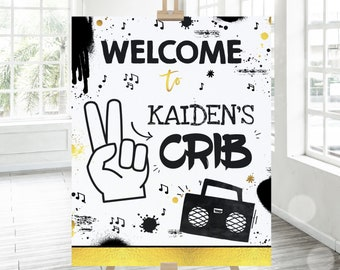 Editable Two Legit To Quit Birthday Party Welcome Sign Two Legit To Quit Hip Hop Party Welcome Sign Hip Hop 2nd Birthday Instant Download TL