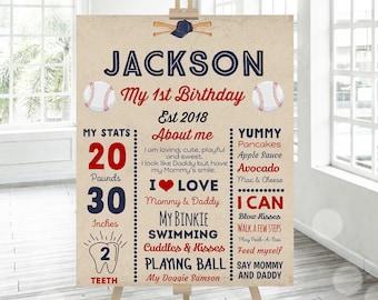 Baseball 1st Birthday Poster Baseball Birthday Milestone Poster Vintage Baseball 1st Birthday Party Instant Download Editable File PDF J2