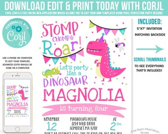 Girl Dinosaur Invitation Pink Birthday Party Girly Instant Download Editable PDF File 5A