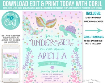 Mermaid Invitation Birthday Under The Sea Party Whimsical Instant Download Editable File 6A