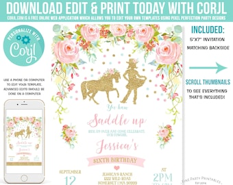 Cowgirl Birthday Invitation Floral Pink Mint Gold Invite Party Instant Download Editable File U2