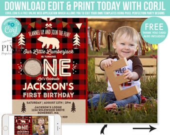 Lumberjack Birthday Invitation First Invite Bear Red Plaid Instant Download Editable File Corjl 6E